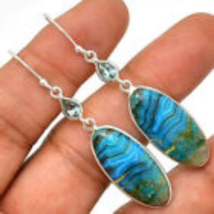 Blue Green Gemstone Earrings 925 Sterling Silver